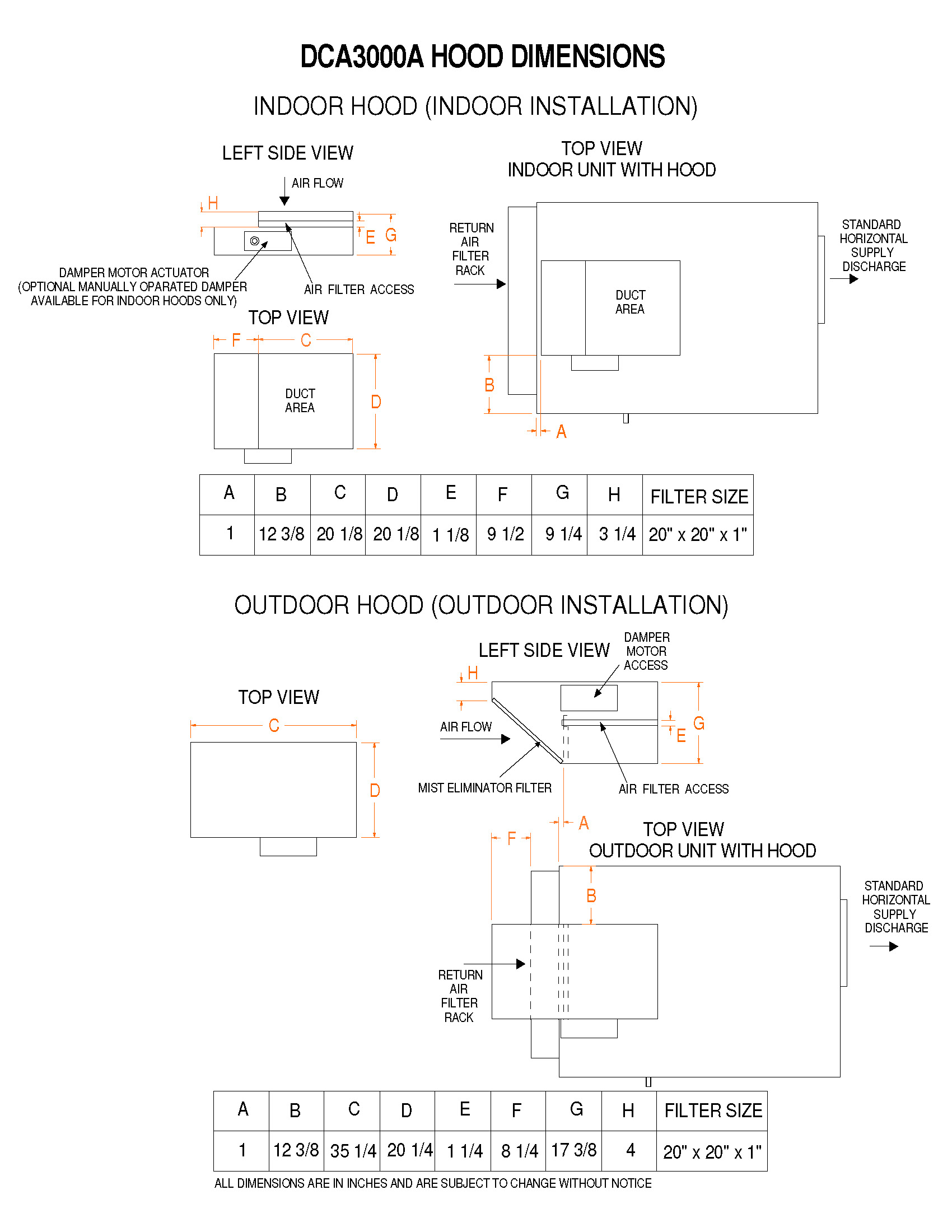 model dca3000a, non water heating assist dehumidifier on Timer Wiring Diagram dca 3000t discharge � dca 3000t intake � 3000a hood dimensions