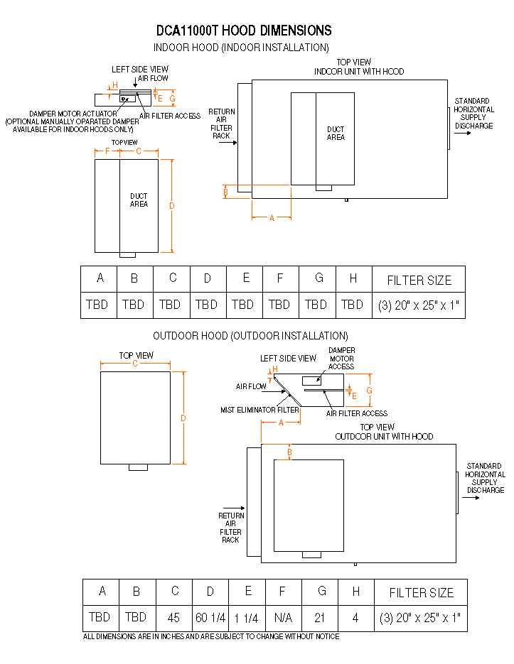 model dca11000t, non water heating assist dehumidifier on Timer Wiring Diagram dca 11000t air cooled only hood dimensions