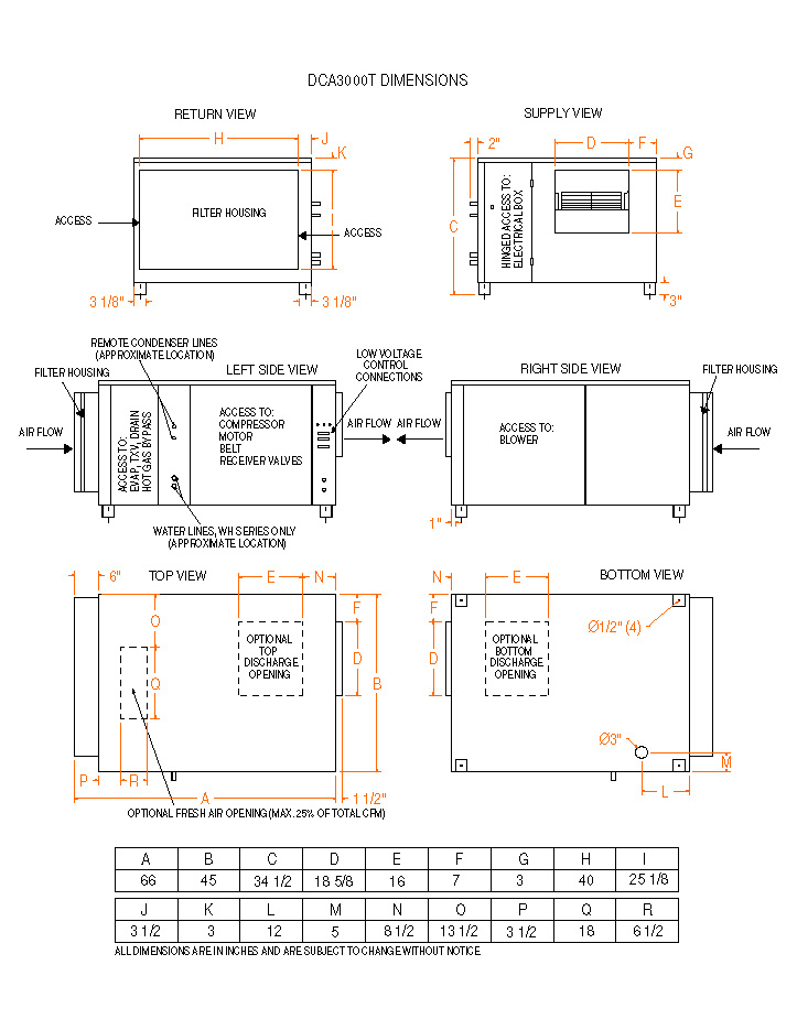 model dca3000t, non water heating assist dehumidifier on Timer Wiring Diagram dimensions � dca 3000t dimensions