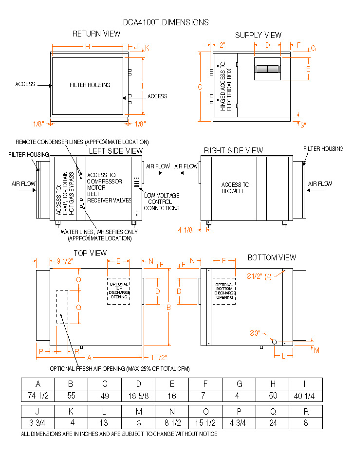 model dca4100t, non water heating assist dehumidifier on Timer Wiring Diagram dimensions � dca 4100t dimensions